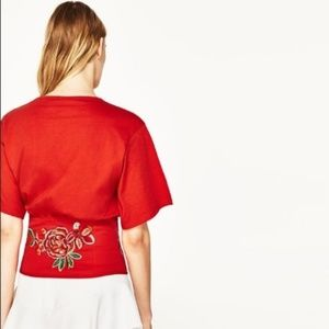 Zara Tops - Zara Red Embroidered Corset Top Floral Tie EUC